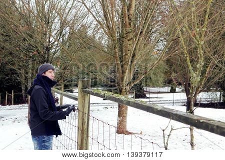 Man with scarf and woolly hat in the winter