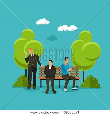 Public free Wi-Fi hotspot zone concept vector illustration in flat style design. People using wireless internet in a park.