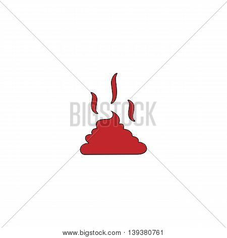 Feces. Clean up after pets symbol. Put it in the bag. Red flat simple modern illustration icon with stroke. Collection concept vector pictogram for infographic project and logo