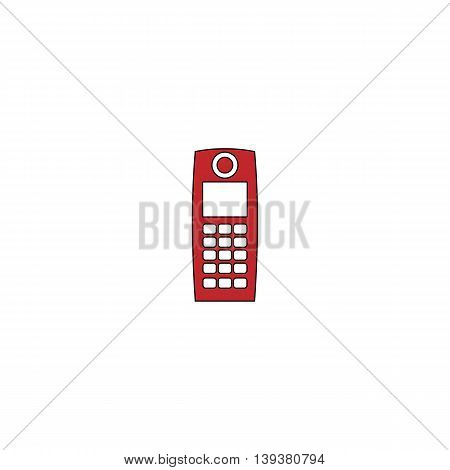 Retro mobile phone. Red flat simple modern illustration icon with stroke. Collection concept vector pictogram for infographic project and logo