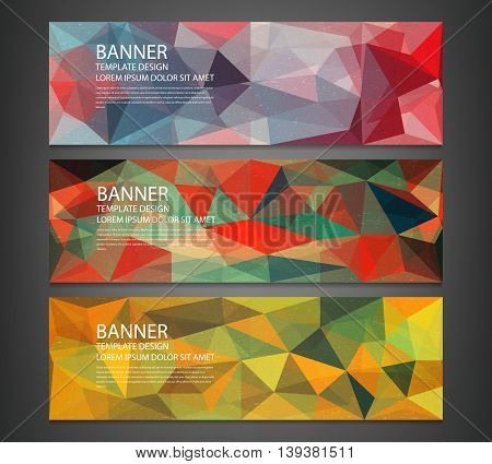 Three banners with abstract multicolored polygonal mosaic background. Modern geometric triangular pattern. Business design template. Website header template. Vector illustration