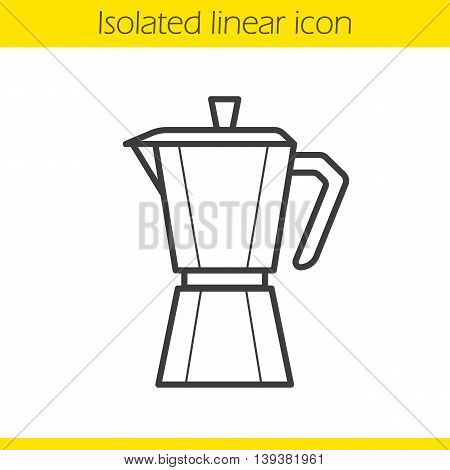 Moka pot linear icon. Classic coffee maker thin line illustration. Mocha pot contour symbol. Vector isolated outline drawing