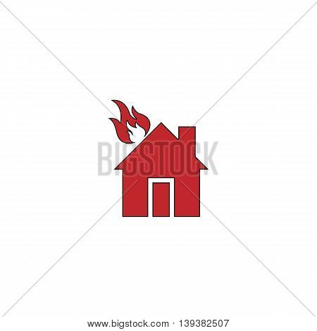 House on fire. Red flat simple modern illustration icon with stroke. Collection concept vector pictogram for infographic project and logo