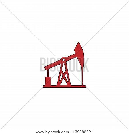 Oil derrick. Red flat simple modern illustration icon with stroke. Collection concept vector pictogram for infographic project and logo