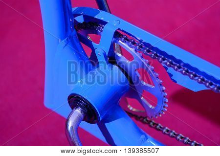 Bike Gears With Chain (selective Focus). Colorful Close Up Of A Bicycle Gear With Details, Chain And