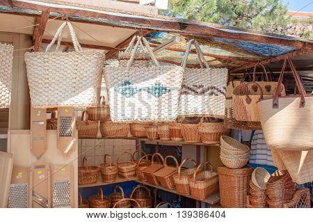 Handmade straw handbags on market sale summer tradition shop