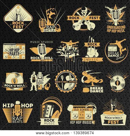 Sixteen hiphop and rock emblem set on different musical themes and equipment vector illustration