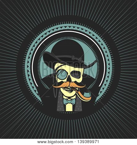 vector illustration of a skull with a pipe and a private investigator hat on a black background Retro