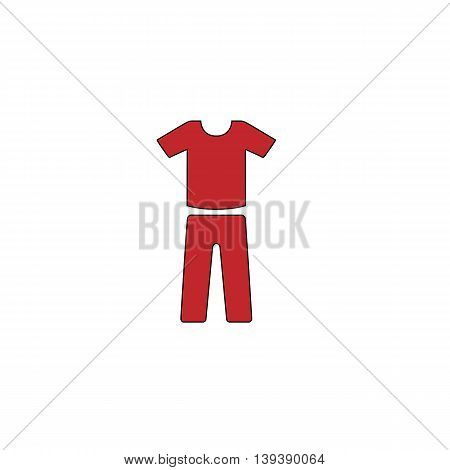 Uniform - pants and t-shirt. Red flat simple modern illustration icon with stroke. Collection concept vector pictogram for infographic project and logo