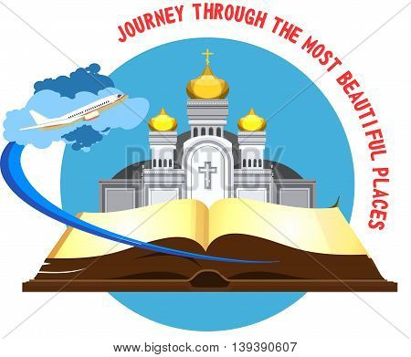 vector emblem orthodox church on the pages of an open book flying in the sky plane traveling to beautiful places