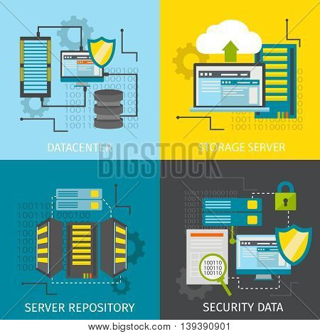Square datacenter icon set with descriptions of datacenter storage server server repository and security data vector illustration