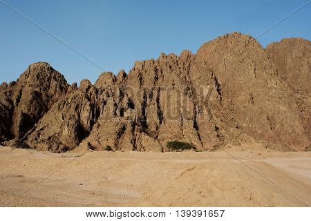 Egypt, the mountains of the desert close up