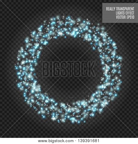 Vector round shiny frame with spark special effect. Luxury white light ring. Abstract Glow circle background. Really transparent effect. Bluelight.