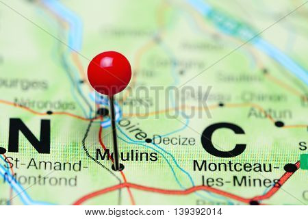 Moulins pinned on a map of France