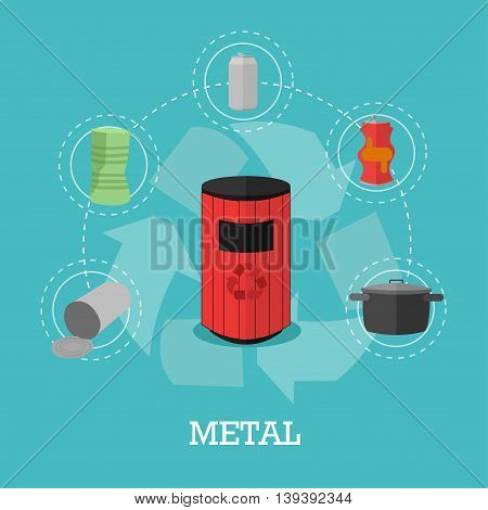 Garbage recycle concept vector illustration in flat style. Metal waste recycling poster and icons. Trash bin.