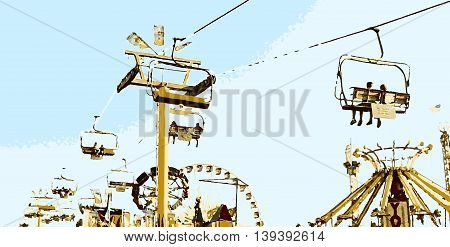 cable car with blue sky at the fairground