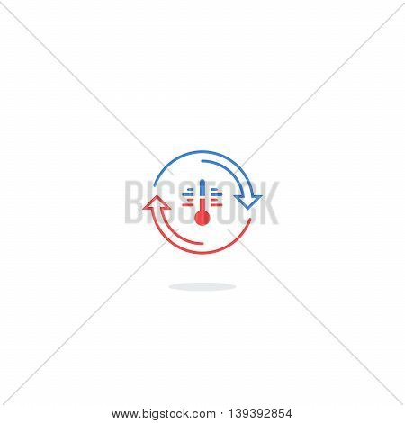 Cooling and heating systems logo, air conditioning service icons, climate control concept