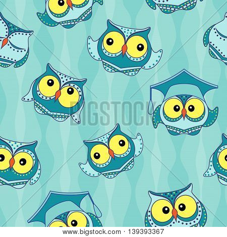 Amusing blue owls with big yellow eyes on the light blue wavy background seamless vector pattern