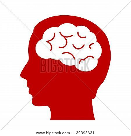 Human brain vector icon isolated on white background
