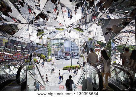 TOKYO JAPAN - JUNE 1,2016 :Omotesando Tokyo Plaza building in Harajuku, Tokyo, Japan. Tokyu Plaza Omohara is a fashion theme park shopping mall for the trendiest fashion.