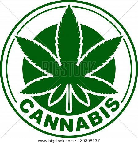 Cannabis or marijuana green vector leaf inscribed in a circle for your design, logo, icon, illustration.