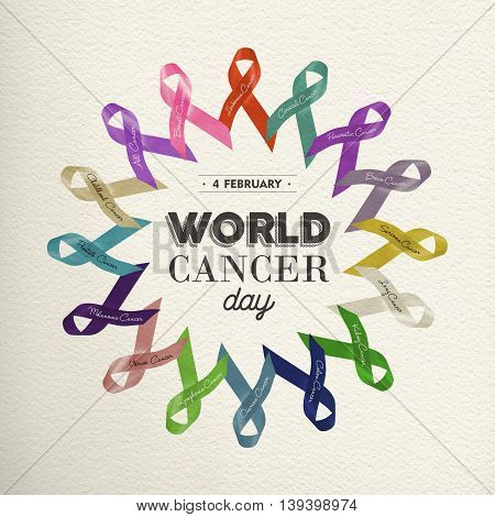 World Cancer Day Design With Awareness Ribbons