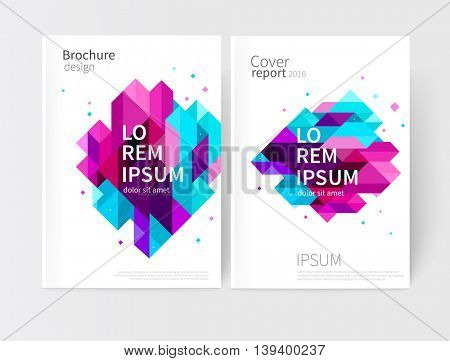 Brochure, leaflet, flyer, cover template. Abstract background blue, purple, violet & pink diagonal lines & triangles. stock vector EPS 10