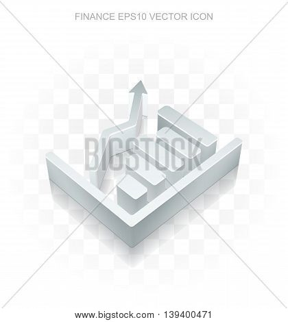 Finance icon: Flat metallic 3d Growth Graph, transparent shadow on light background, EPS 10 vector illustration.