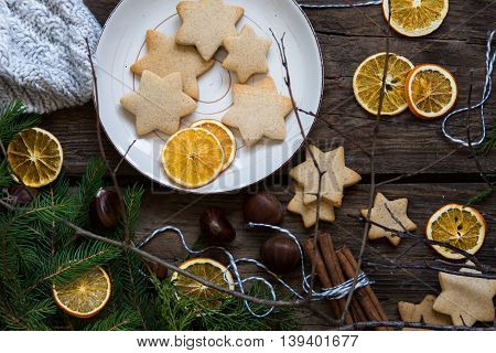 Christmas gingerbread cookies and decorations for a card