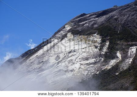 Ranau,Sabah-March 12,2016:Close up view of Mountain Kinabalu after earthquake.Climbing season officially start on Dec 1, 2015 after closure due to earthquake in June 2015.