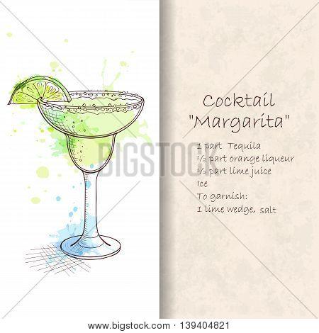 Popular cocktail Margarita. Classic tart zingy and satisfying. Hand drawn vector illustration. Booklet with detailed recipe. Hand drawn vector illustration.