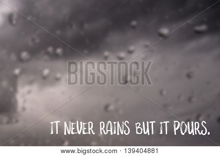 It never rains but it pours, English saying illustrated