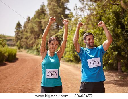 Two Runners Celebrating The Race Final
