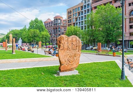 YEREVAN ARMENIA - MAY 29 2016: The copy of the ancient Khachkar in the open air exhibition named The Cultural Genocide: symbol of Khachkars on May 29 in Yerevan.