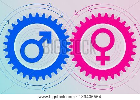 Blue gear with male symbol inside and pink gear with female symbol inside near to each other. Interaction and interdependence of genders. Heterosexual relationships poster