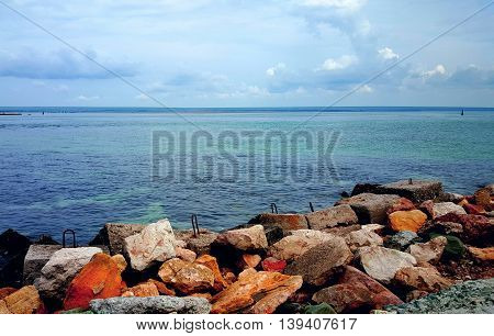 Stones are incredibly beautiful seascape sea and clouds