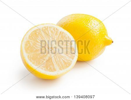Lemon. Fresh lemon isolated on white. Lemon in a cut