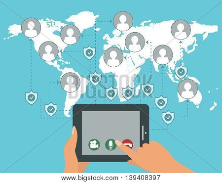 Vector protected web calls concept. WebRTC technology illustration. Social network, mobile security. Data protection.