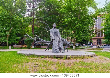 YEREVAN ARMENIA - MAY 29 2016: The statue of Komitas -the famous musicologist composer arranger singer choirmaster the founder of Armenian national school of music on May 29 in Yerevan.