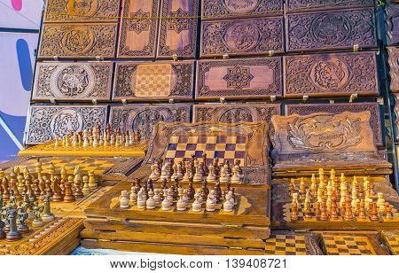 YEREVAN ARMENIA - MAY 29 2016: The handmade chess with the traditional carvings are the best present from Armenia on May 29 in Yerevan.