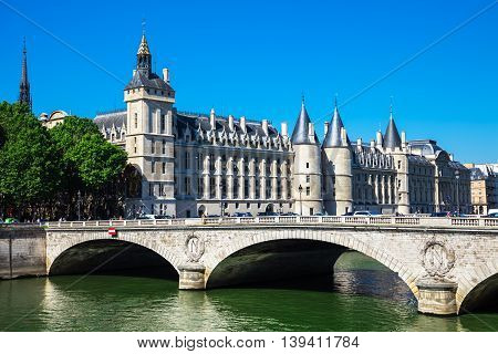 Paris France - Jule 07 2016: Castle Conciergerie is a former prison located on west of the Cite Island and today it is a part of Palais de Justice Paris France