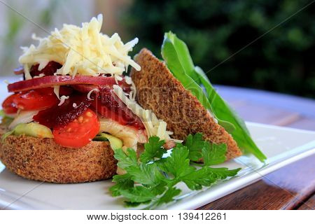 Paleo Bun with Cheese and Salad