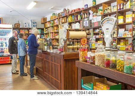 ROSA BROOK AUSTRALIA - APRIL 5 2016: Unidentified customers in Darnells General Store in Rosa Brook in the Margaret River area of Western Australia. The store is a nostalgic and quaint reminder of the past.