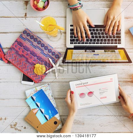 Friends Tablet Laptop Browsing Summer Beach Concept