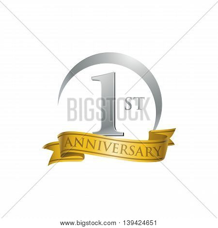 1st anniversary gold logo template. Creative design. Business success