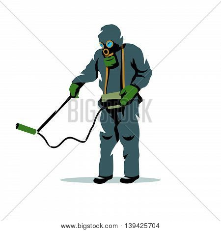 Man in protective suit and gas mask with radiation dosimeter. Isolated on a white background