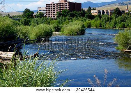The beautiful, Clark Fork River flowers through Missoula, Montana.