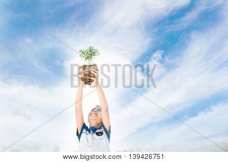 Boy Raise Little Plant
