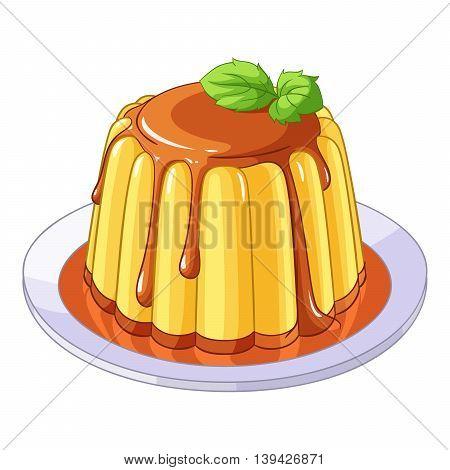 Creamy caramel flan dessert. Vector illustration isolated on white background.