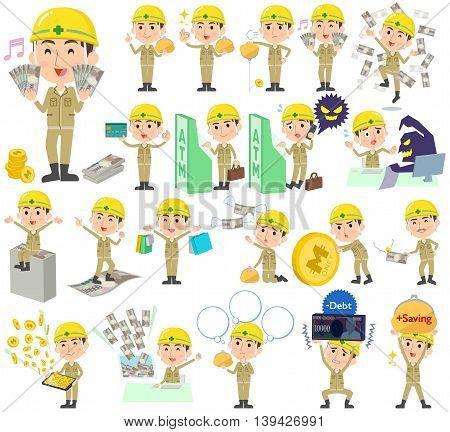 Helmet Construction Worker Man Money